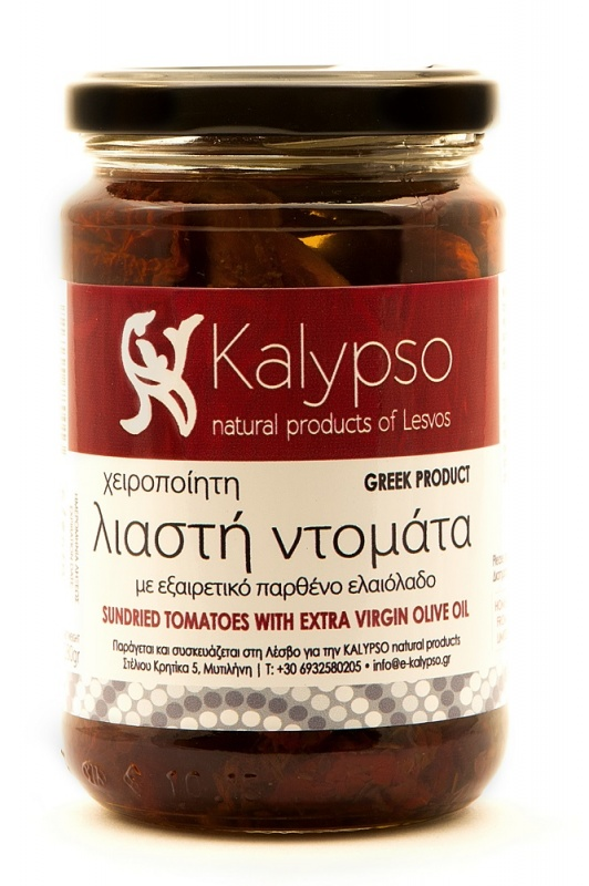 Home made Sundried tomatos with virgin olive oil.  Limited production from small cottage industry of Lesvos. 280gr