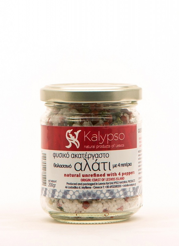 Natural unrefined sea salt from Kalloni salt lake with 4 kind of peppers (green, white, red, black) 200gr