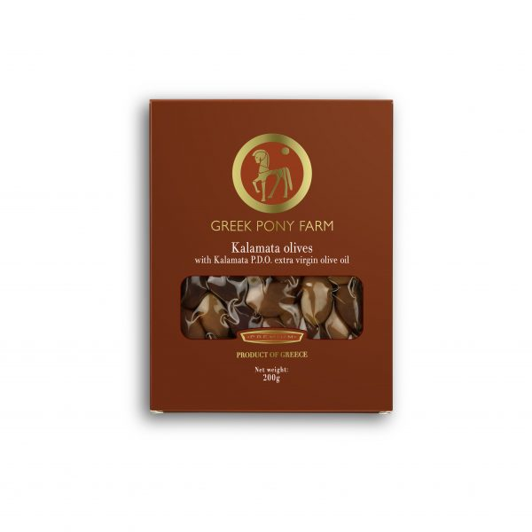 """Gourmet """"Kalamon"""" olives in a box of excellent quality with extra virgin olive oil 200gr"""