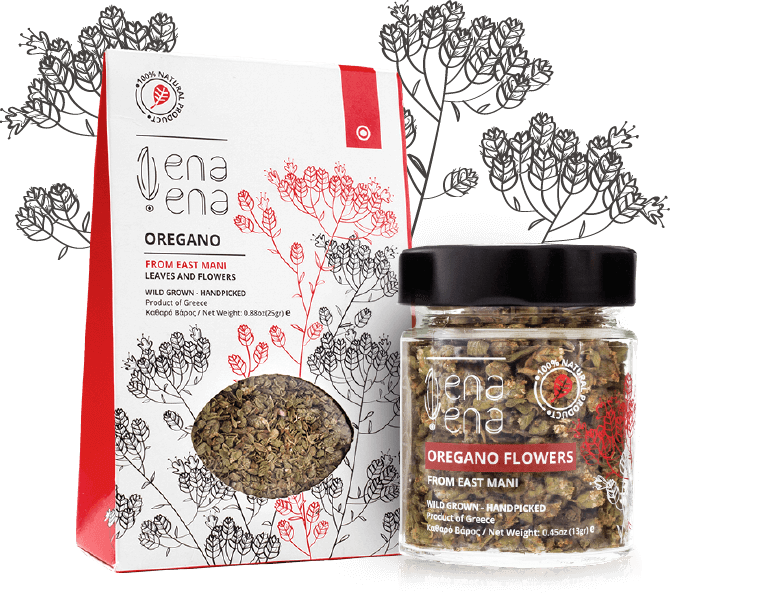 Wild Greek Oregano Flowers and Leaves from Mani ena – ena (one by one)